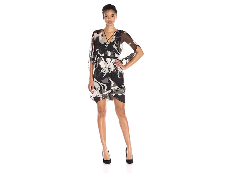 HALSTON HERITAGE V Neck Printed Kaftan Dress with Curved Circle