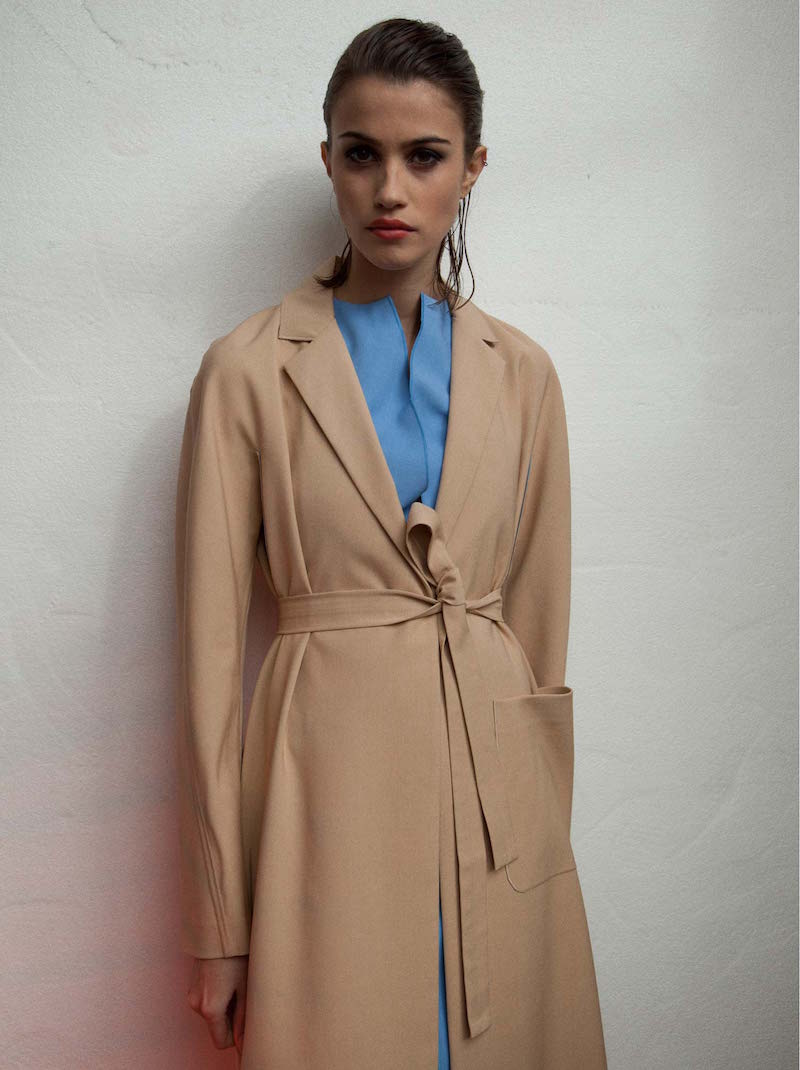HOCKIN Long Bonded Bi-colour Trench Coat