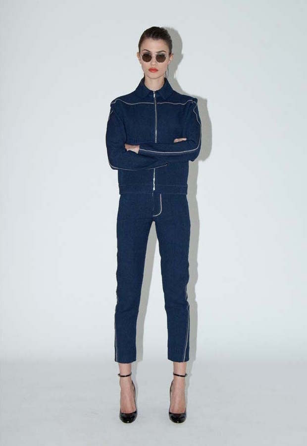 HOCKIN Twisted Seam Denim-look Slim Leg Jeans