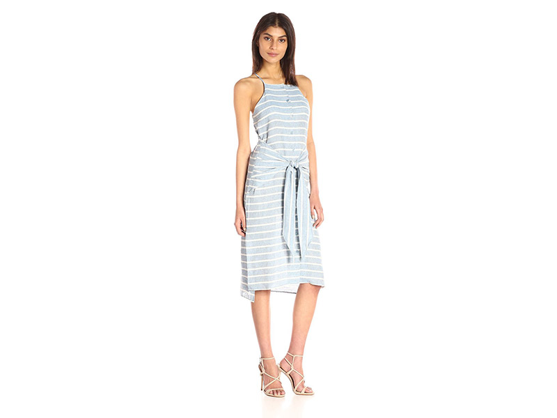 J.O.A. Striped Sleeveless Tie Front Dress