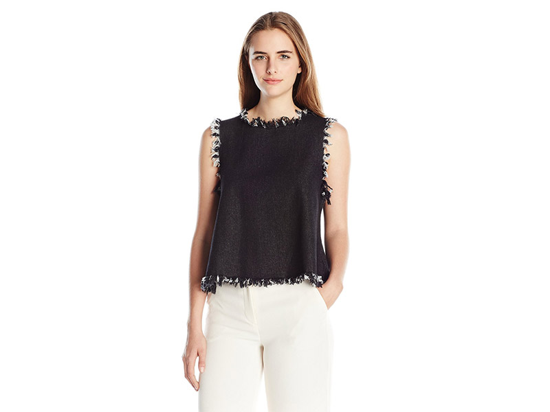 JOA Frayed Denim Top