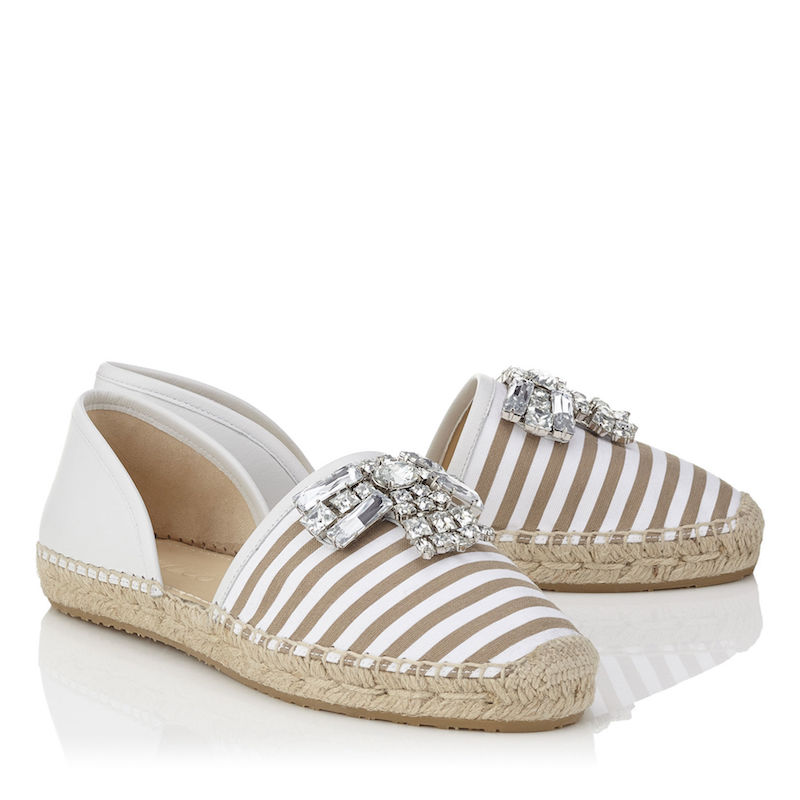 Jimmy Choo Damask Flat Taupe and White Striped Cotton Espadrilles with Crystal Detailing