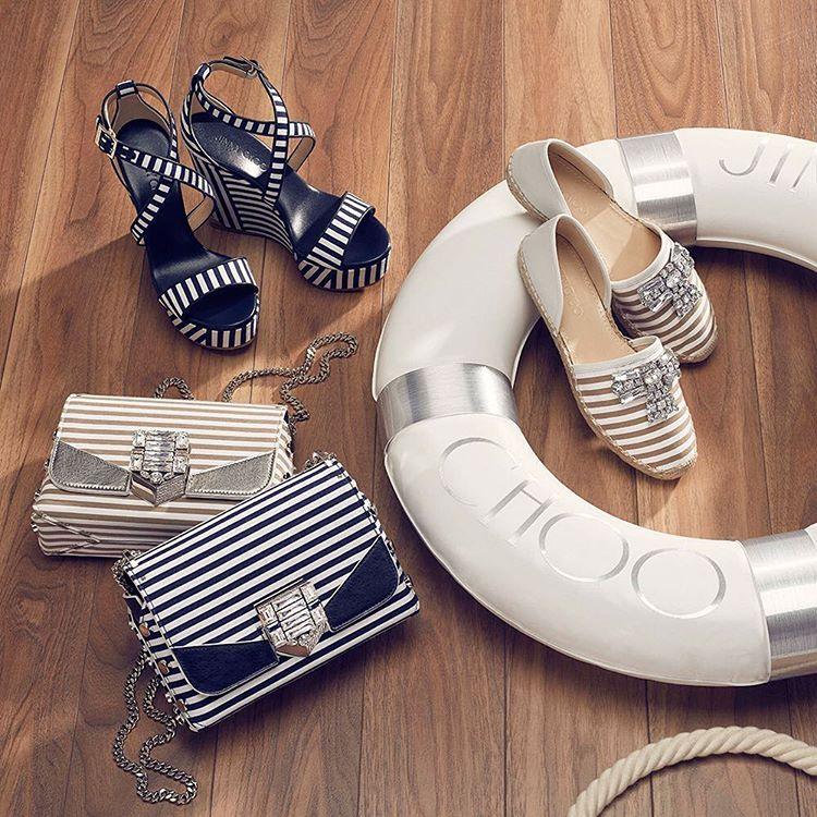 Jimmy Choo Lockett Petite Navy and Optic White Striped Cotton Shoulder Bag with Pavé Crystal Lock