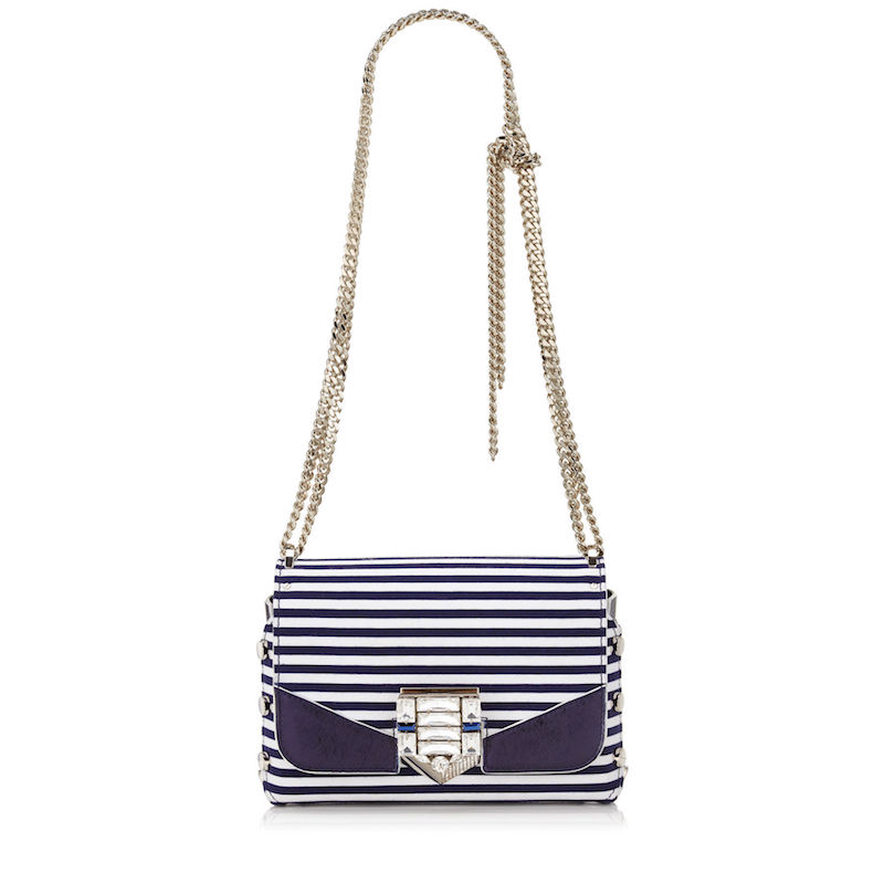 Jimmy Choo Lockett Petite Navy and Optic White Striped Cotton Shoulder Bag with Pavé Crystal Lock_1