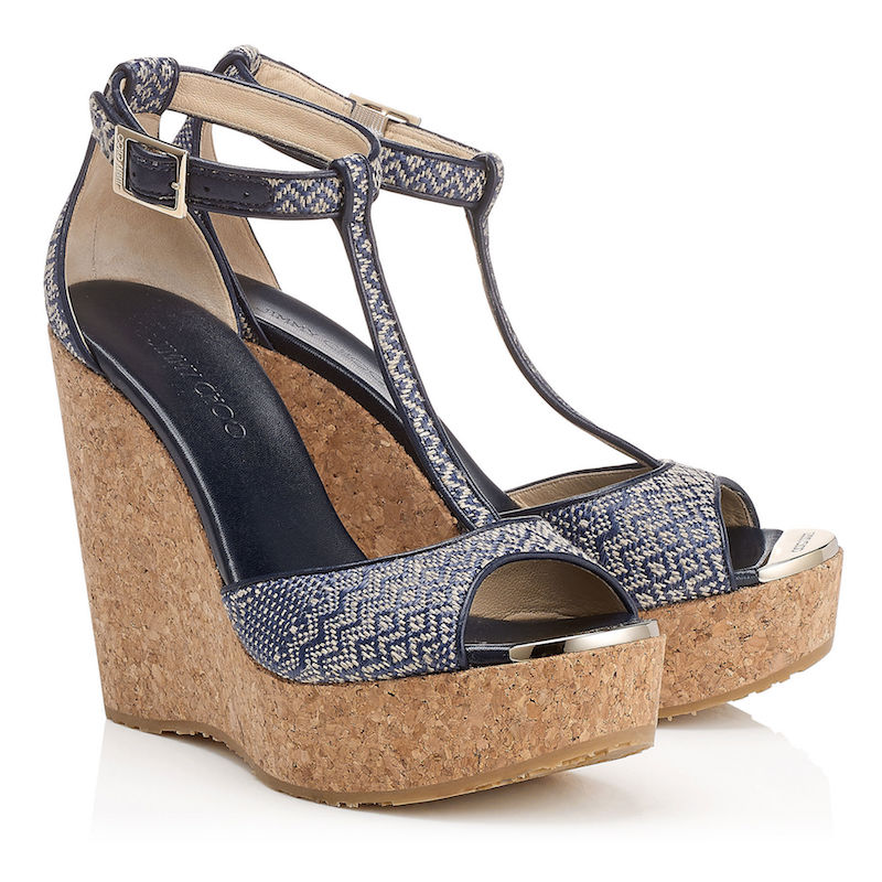 Jimmy Choo Pela Navy and Marble Woven Fabric Cork Wedges