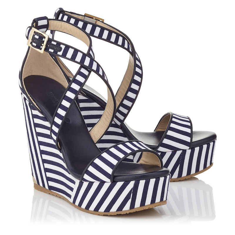 Jimmy Choo Portia 120 Navy and Optic White Striped Cotton Cork Wedges