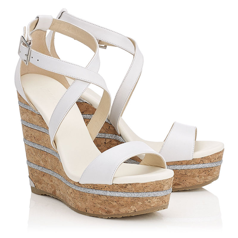 Jimmy Choo Portia 120 Optic White Leather Cork Wedges with Glitter Stripes on the Wedge_1