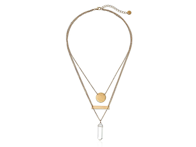 Jules Smith Geo Crystal Triple-Layer Pendant Necklace