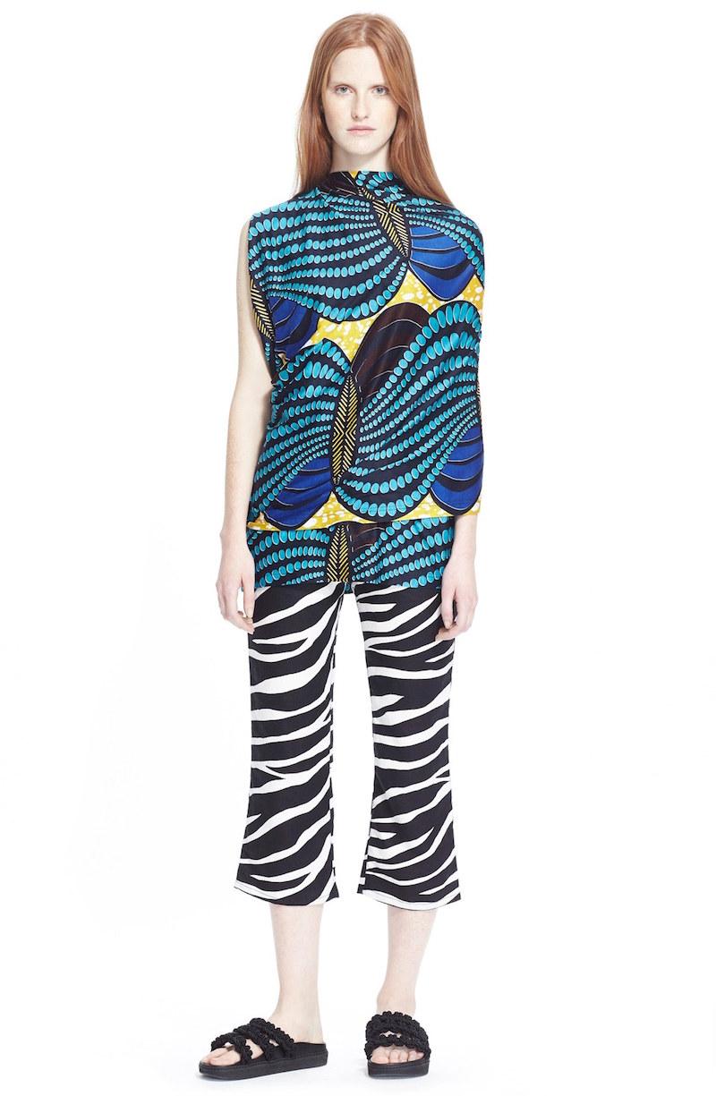 Junya Watanabe Zebra Print Linen Capri Pants