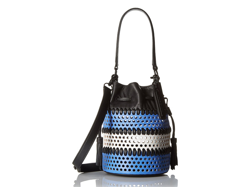 LOEFFLER RANDALL Mini Industry Perforated Woven Leather Bucket Cross-Body Bag