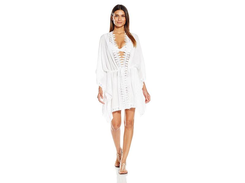 La Blanca Costa Brava Crochet-Trim Kimono-Sleeve Cover-Up