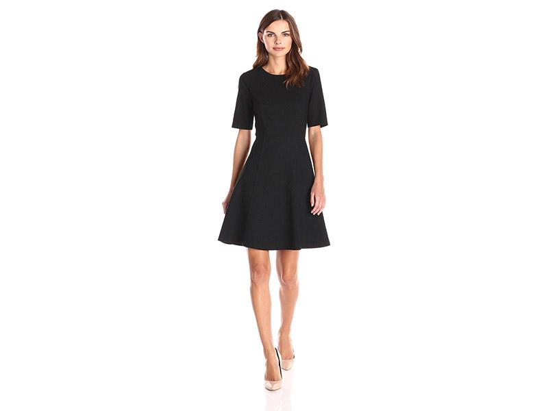 Lark & Ro Elbow-Sleeve Textured Full Flare Dress