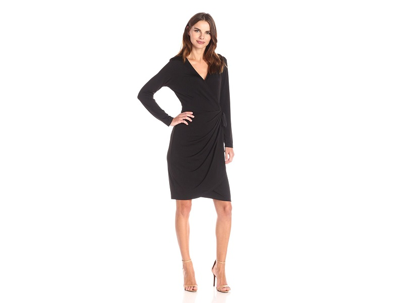 Lark & Ro Women's Classic Long-Sleeve Wrap Dress