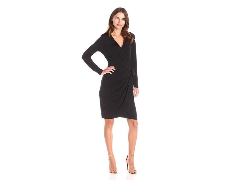 Lark & Ro Women's Classic Long-Sleeve Wrap Dress