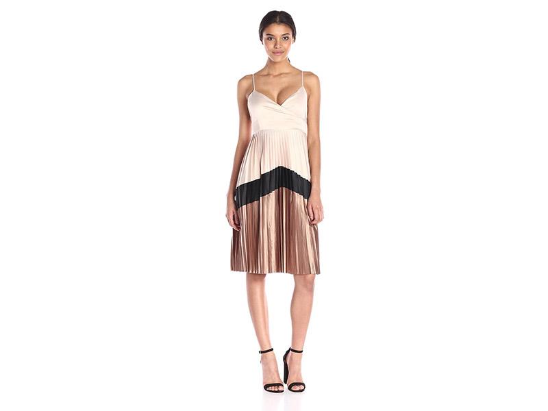 Lucca Couture Satin Chevron Pleated Midi Dress