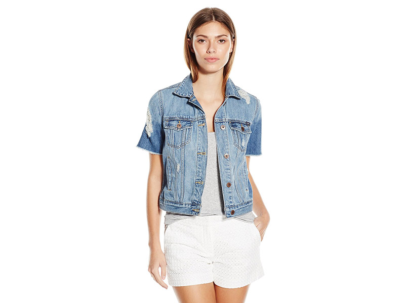Lucky Brand Short-Sleeve Denim Trucker Jacket