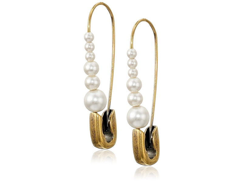 MARC JACOBS Charms Safety Pin Pearl Earring