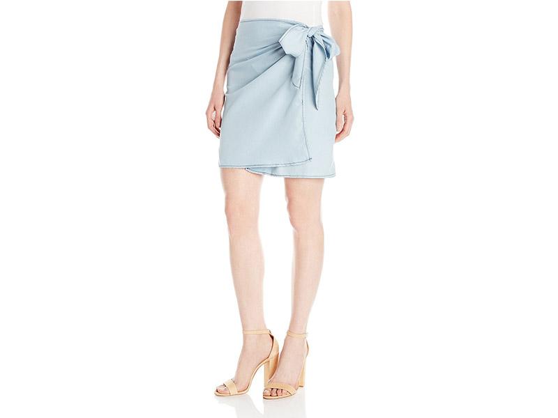 MINKPINK Kick Back Wrap Denim Skirt