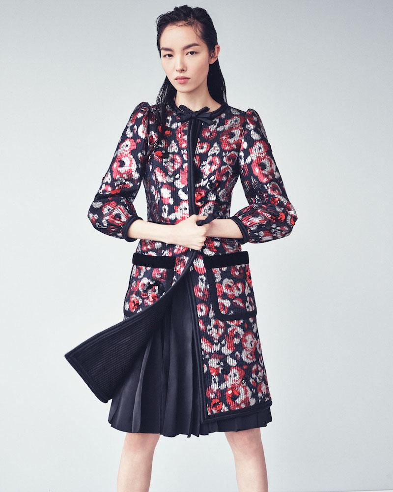 Marc Jacobs Sequined-Floral Velvet-Trim Coat