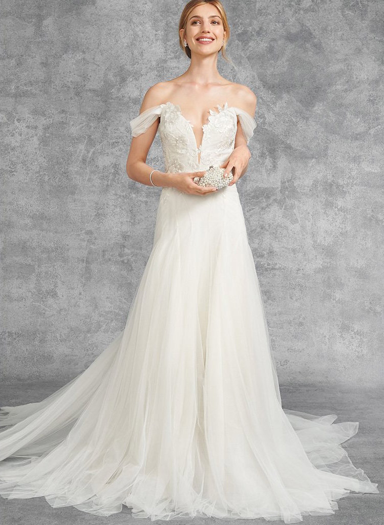 Marchesa Hyacinth Gown with Plunging Neckline