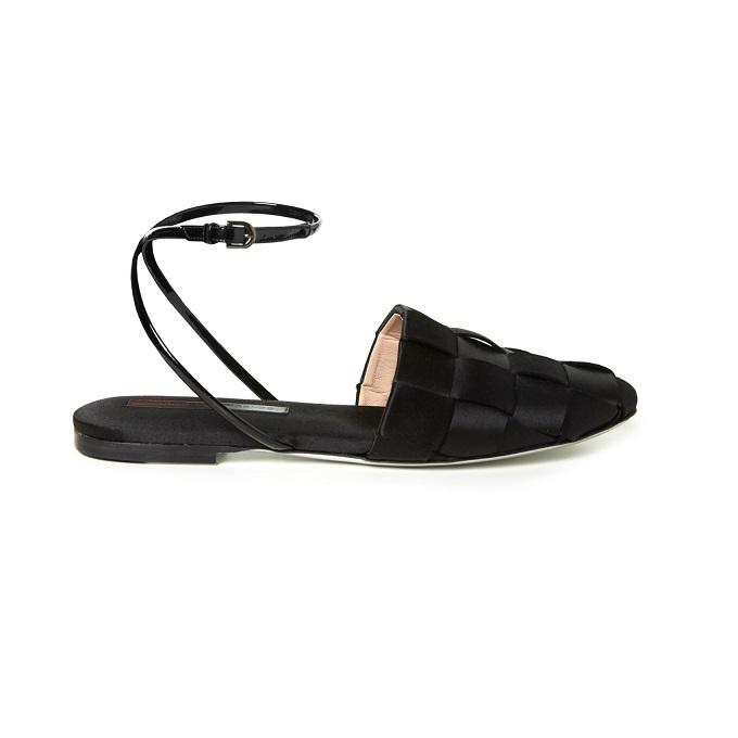 Marco De Vincenzo Woven-satin flat sandals-