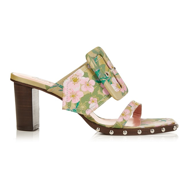 Marques'Almeida Oversized-buckle floral-brocade mules-