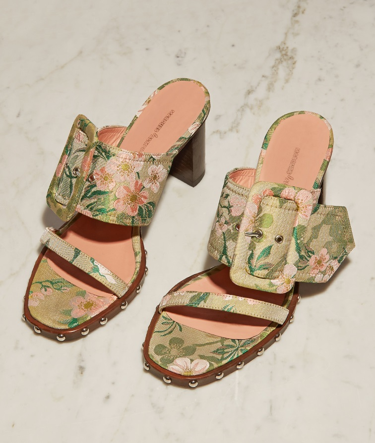 Marques'Almeida Oversized-buckle floral-brocade mules