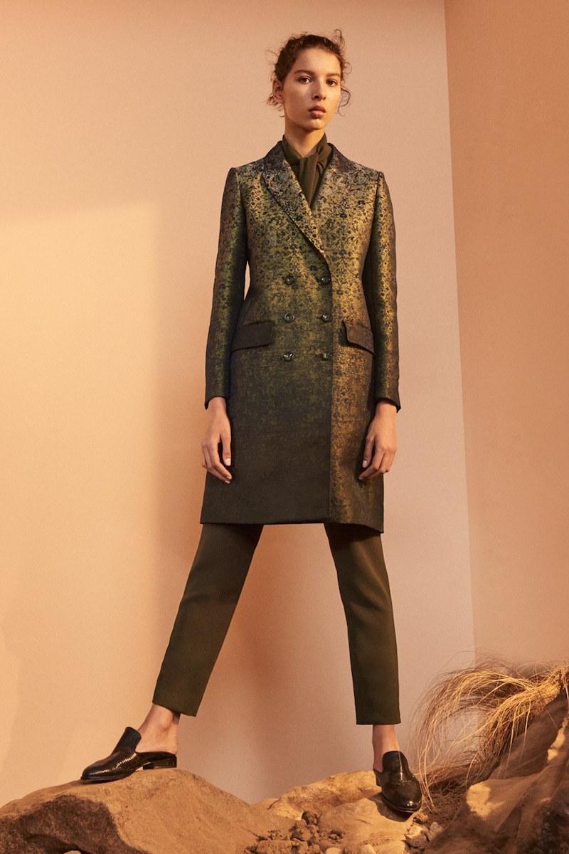 Max Mara Veleno Double Breasted Jacquard Coat