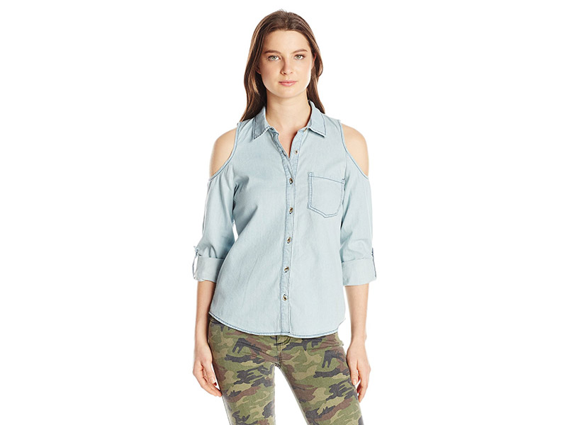 My Michelle Button-Front Top with Cold-Shoulders and Roll-Tab Sleeves
