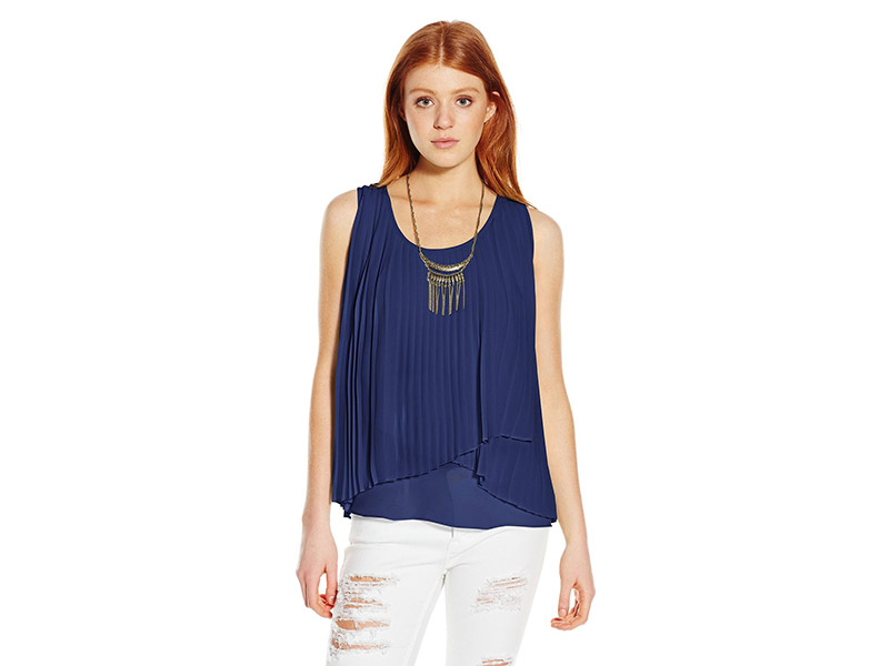 My Michelle Pleated Overlapped Sleeveless Top with Necklace and Keyhole