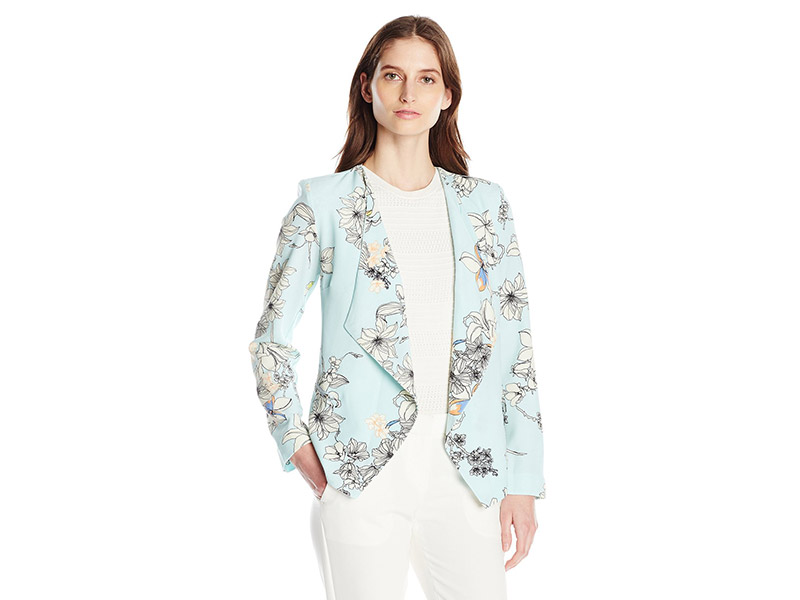 NY Collection Printed Long Sleeve Open Front Cascade Front Jacket