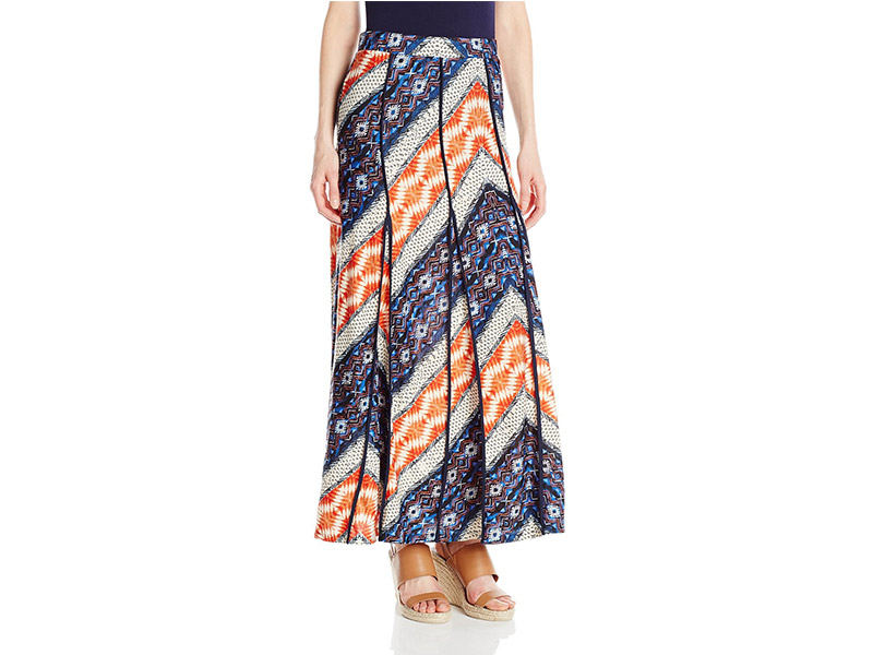 NY Collection Printed Maxi Skirt with Flared Godets
