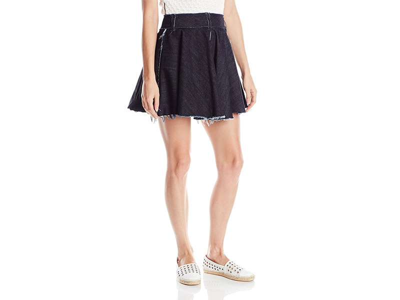 Norma Kamali Denim Flared Mini Skirt Reversible