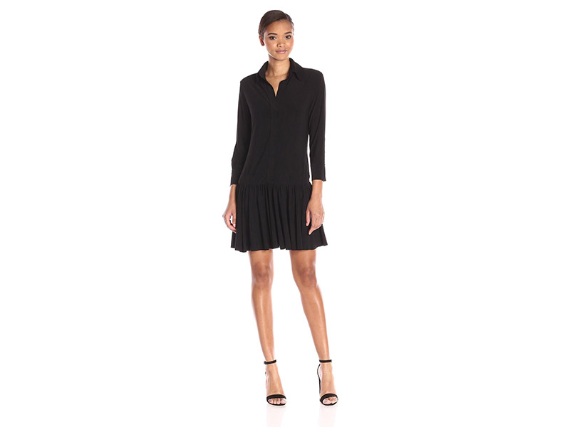 Norma Kamali Neck Ra Shirt Dress