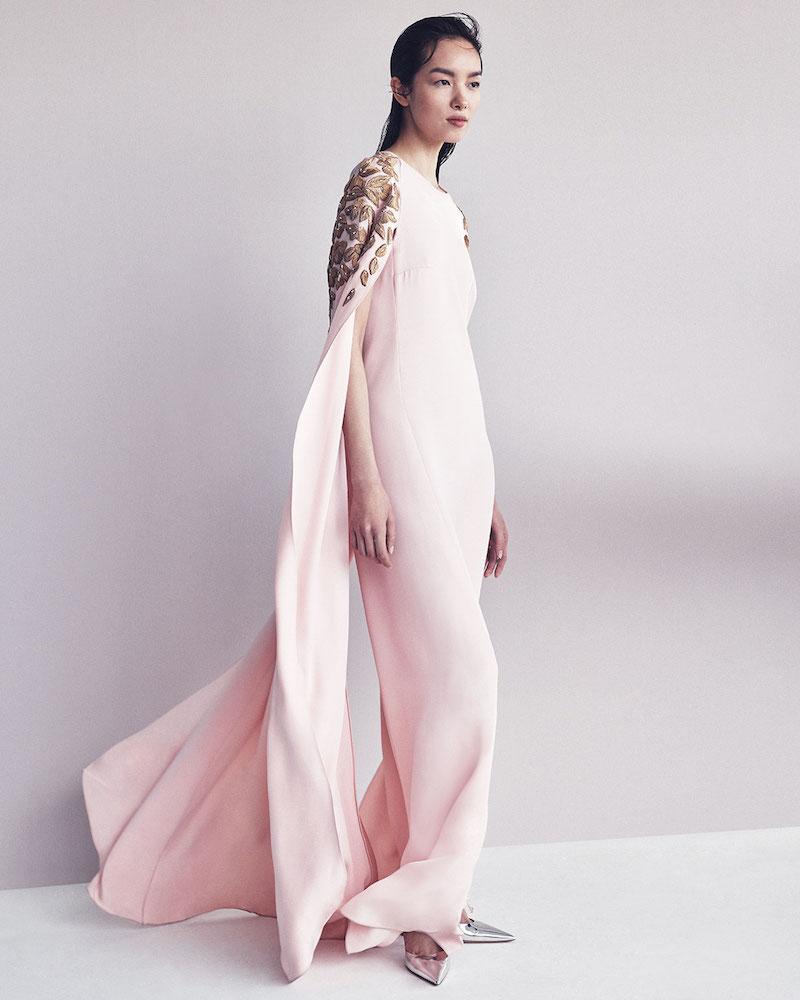 Oscar de la Renta Floral Appliqué Caftan Gown