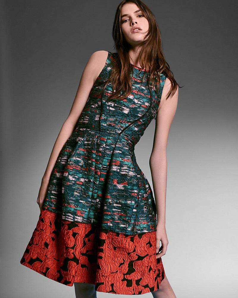 Oscar de la Renta Mixed-Media Fit-&-Flare Dress-