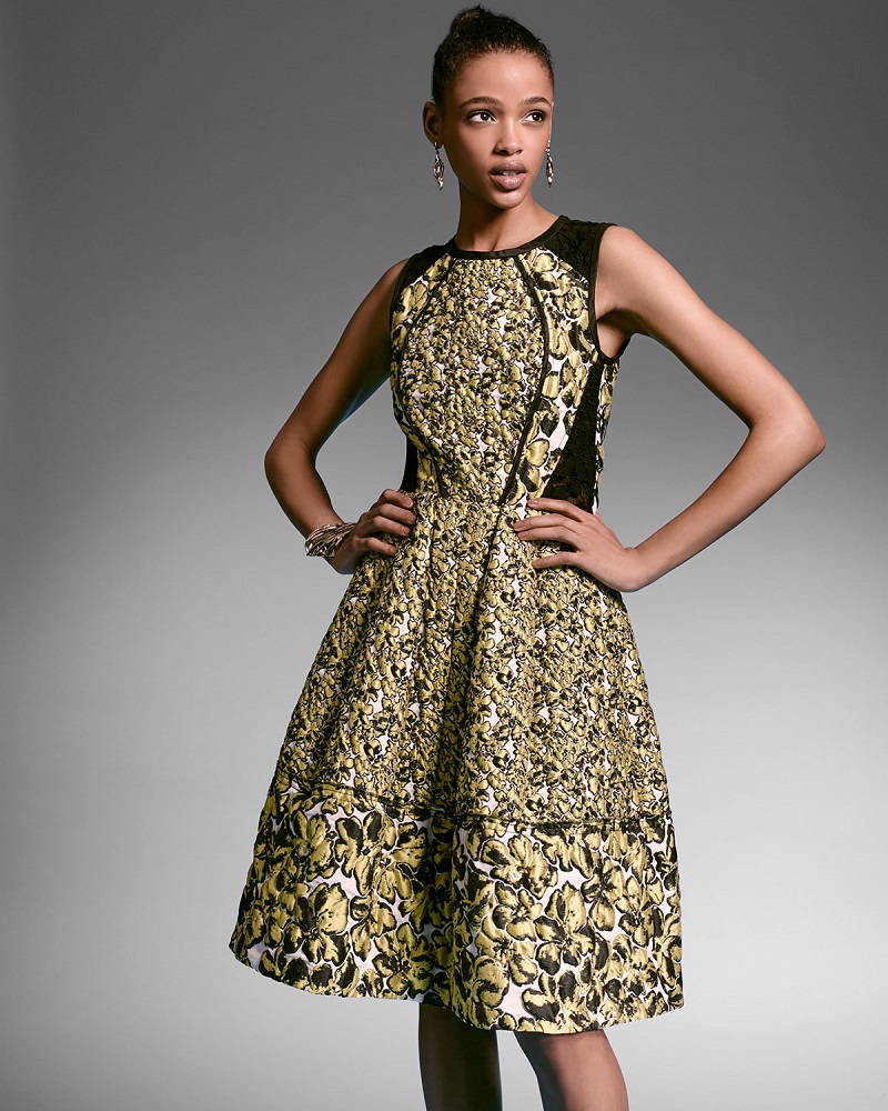 Oscar de la Renta Sleeveless Floral-Print Cocktail Dress