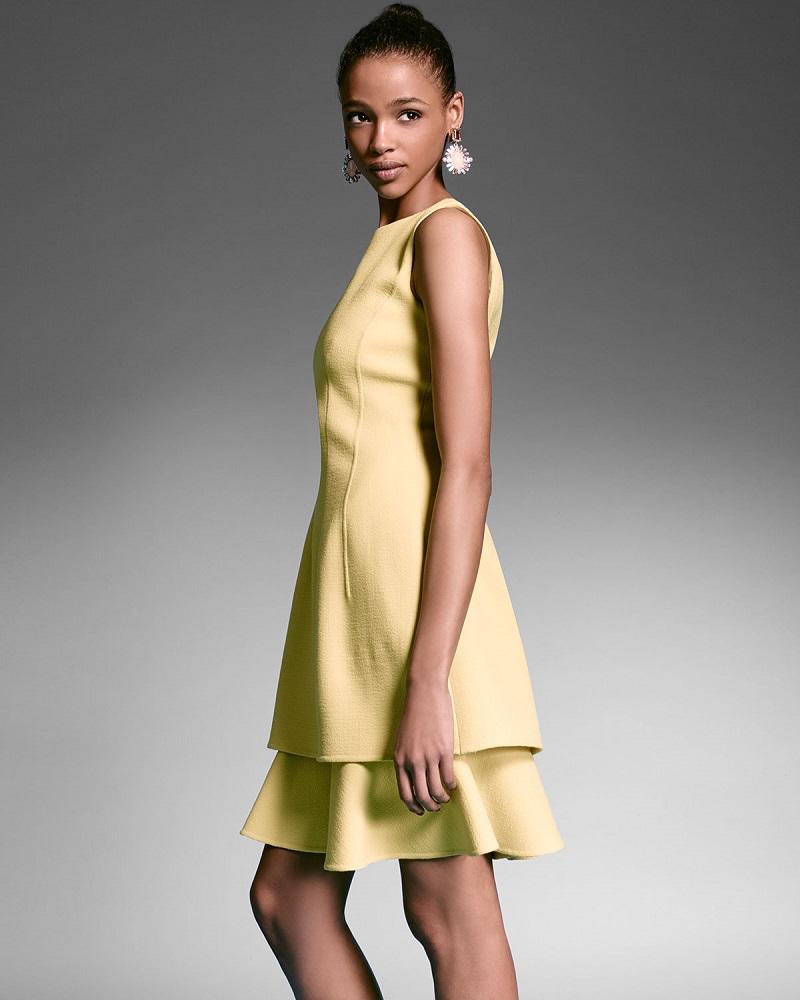 Oscar de la Renta Sleeveless Layered-Hem Dress