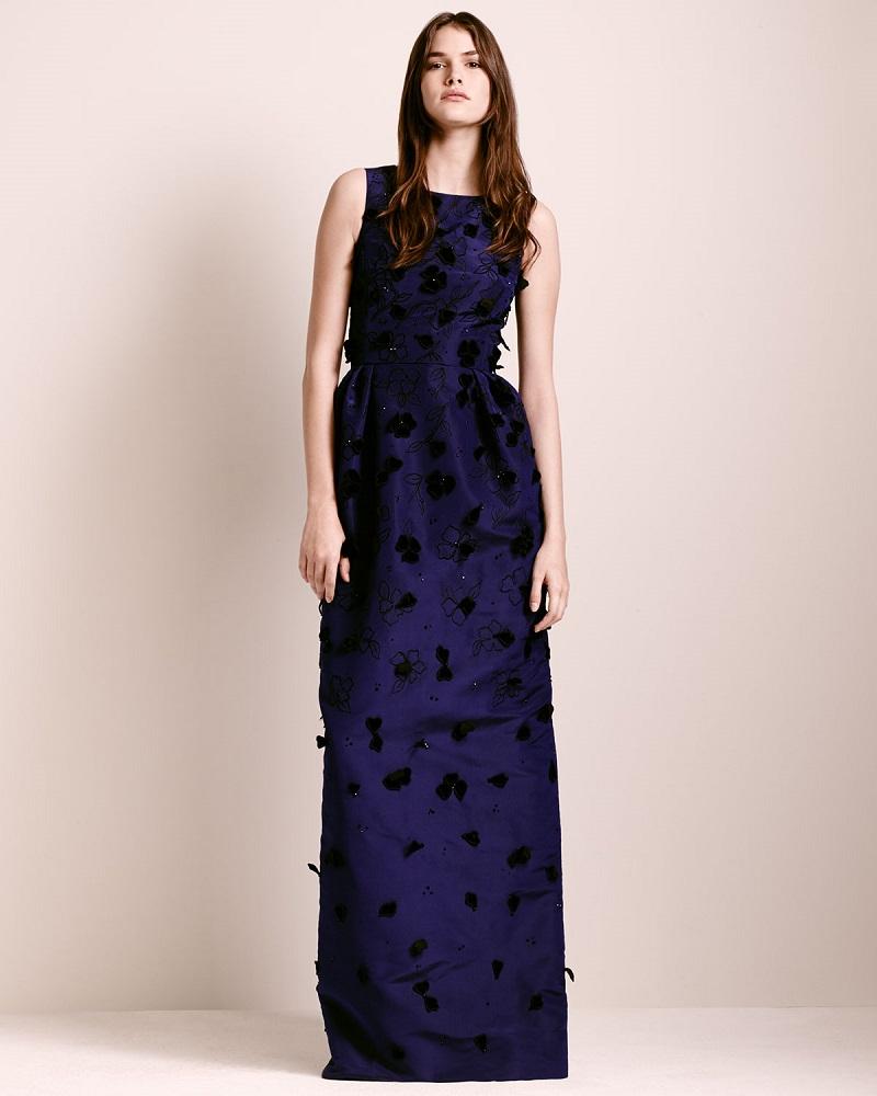 Oscar de la Renta Velvet-Appliqué Column Gown