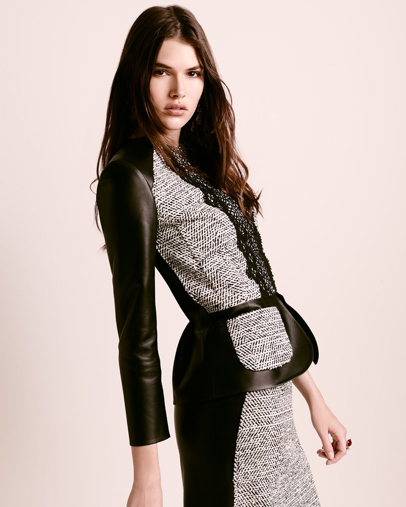 Oscar de la Renta Zip-Front LeatherTweed Peplum Jacket