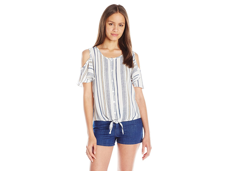 Papercrane Stripe Cold Shoulder Top