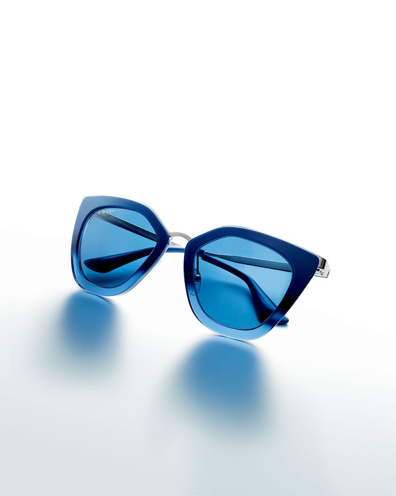 Prada Monochromatic Metal-Trim Geometric Cat-Eye Sunglasses