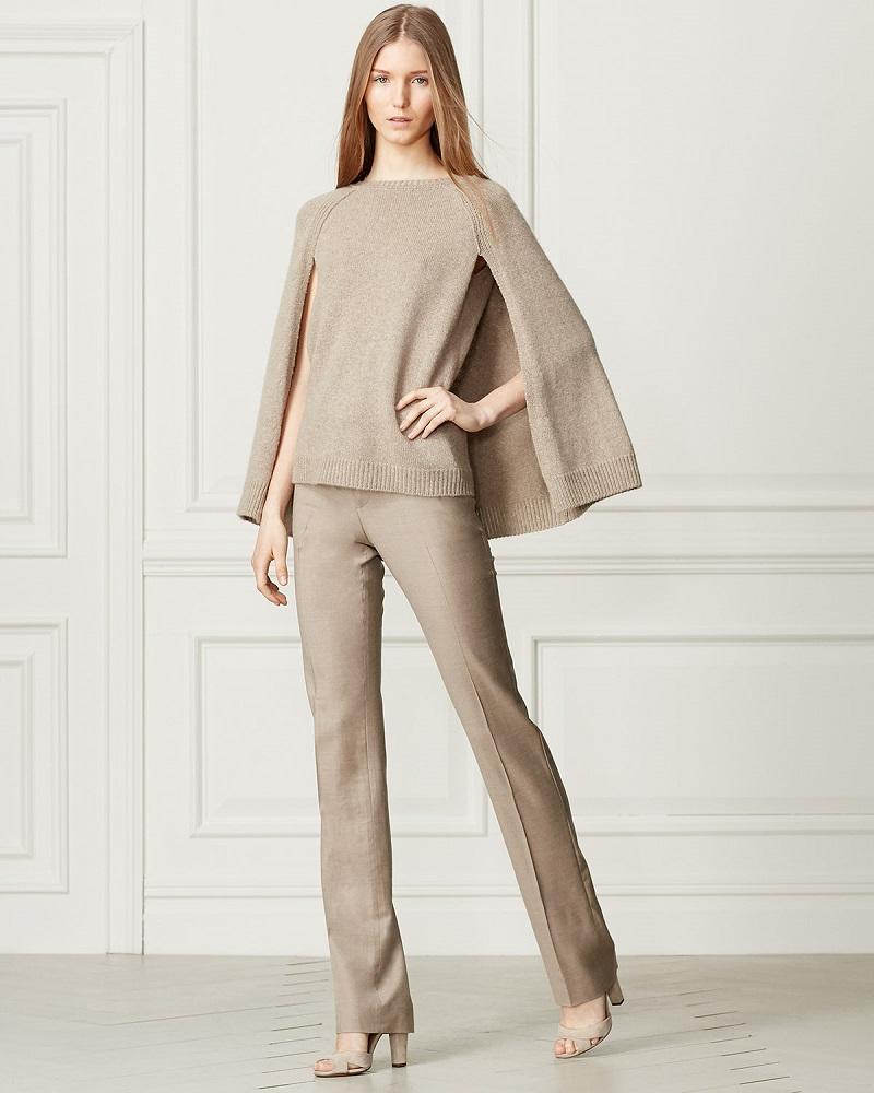Ralph Lauren Collection Knit Cashmere Cape-Sleeve Sweater