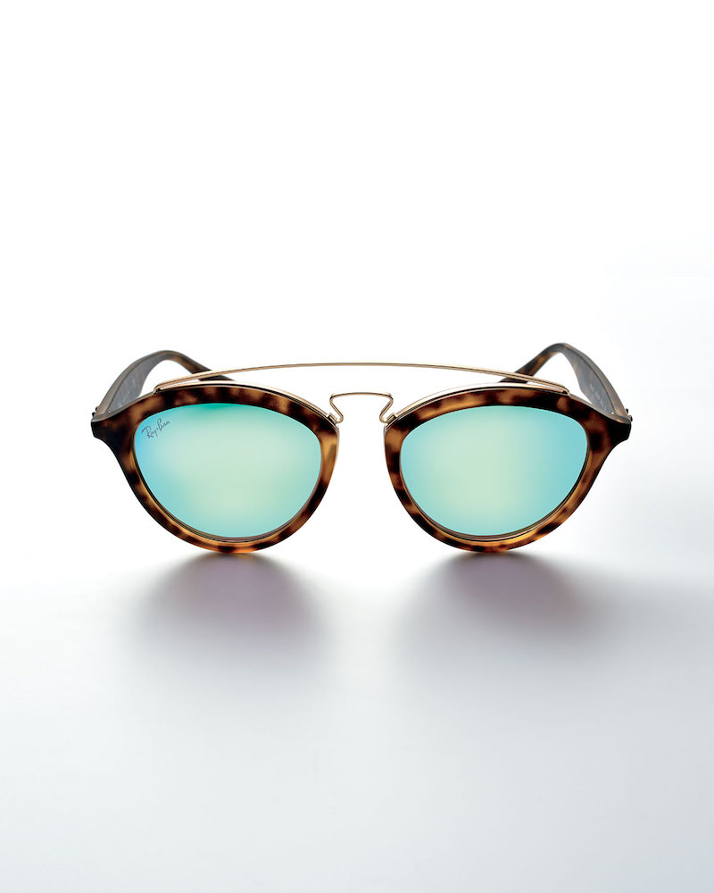 Ray-Ban Round Mirrored Brow-Bar Sunglasses