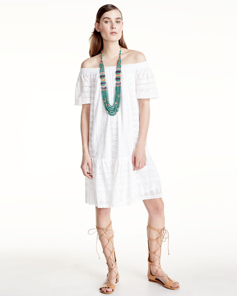 Rebecca Taylor Embroidered Off-the-Shoulder Shift Dress
