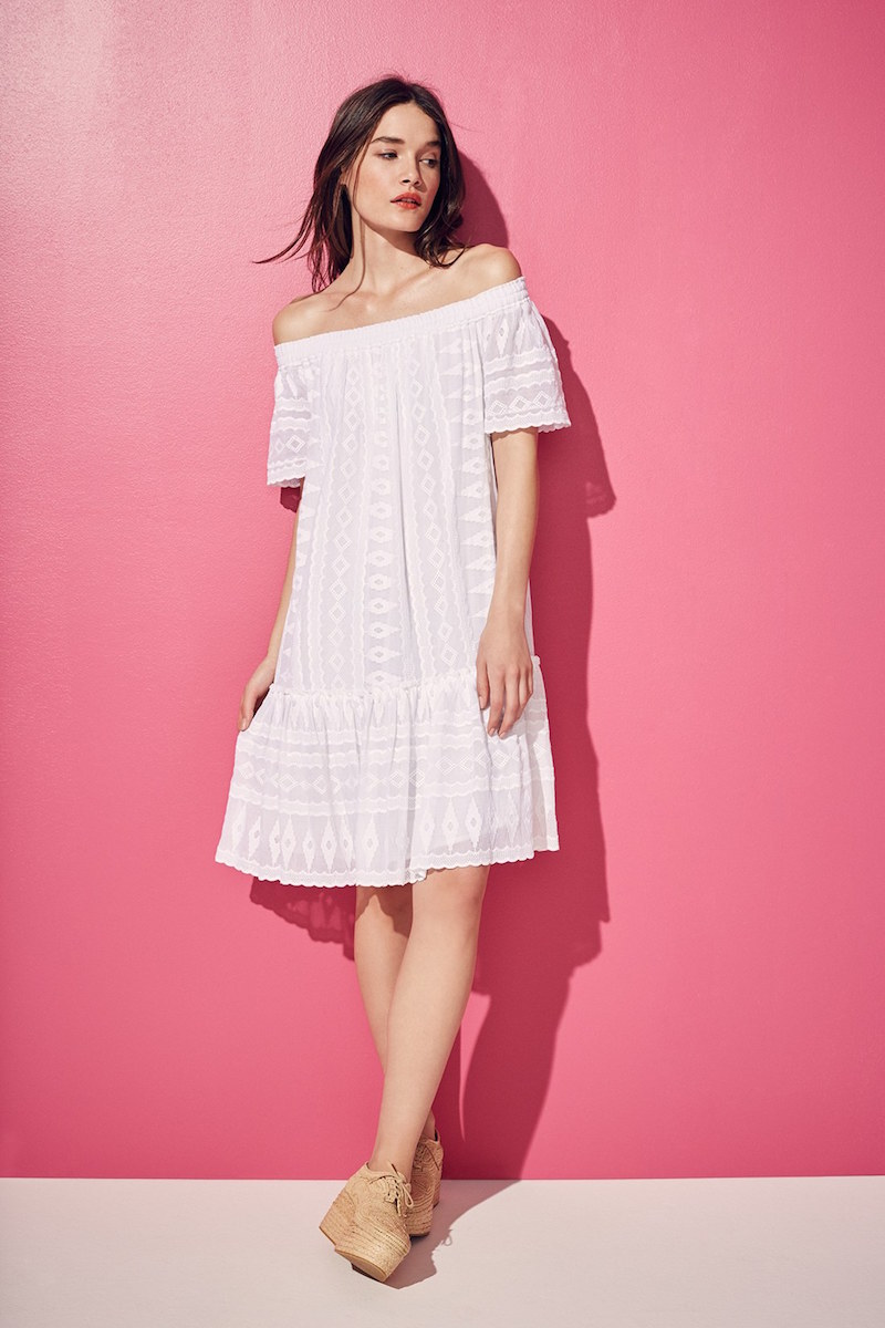 Rebecca Taylor Off the Shoulder Embroidered Cotton Dress