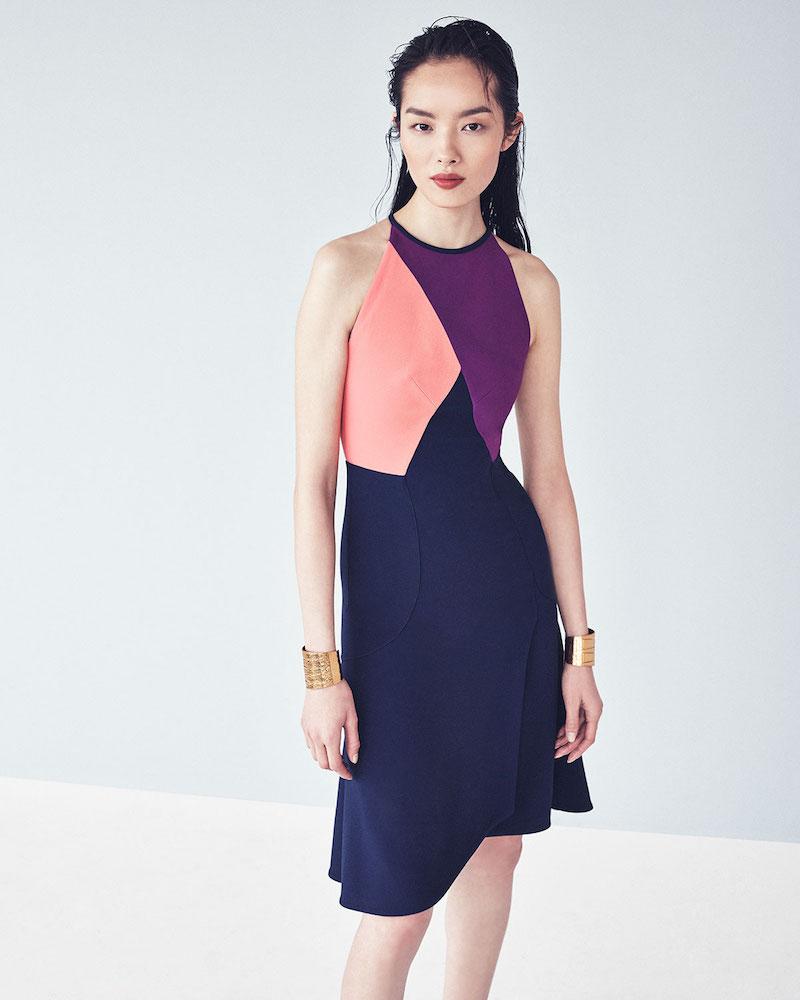 Roland Mouret Kenard Colorblock Fit-&-Flare Dress