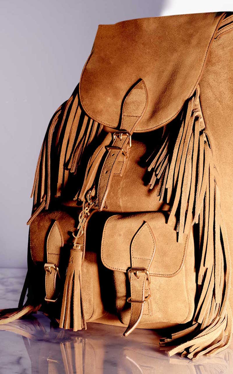 Saint Laurent Festival Fringed Suede Backpack