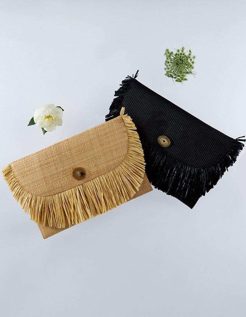 Sanayi 313 Frangia raffia-trimmed straw clutches