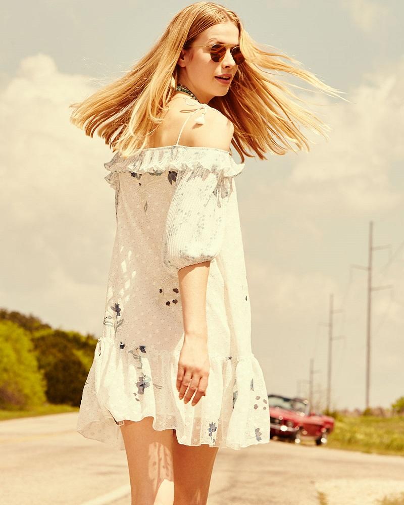 See by Chloe Cold-Shoulder Floral & Polka-Dot Georgette Dress